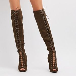 Charlotte russe over the knee peep toe heels